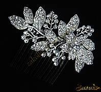 Металлический гребешок для волос с камнями чешское стекло, украшение на свадьбу(выпускной), цветок с листиками