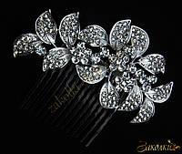 Металлический гребешок для волос с камнями чешское стекло, украшение на свадьбу(выпускной), веточка