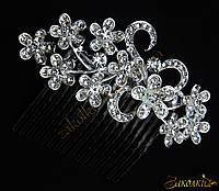 Металлический гребешок для волос с камнями чешское стекло, украшение на свадьбу(выпускной), букет завитки