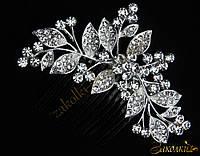 Металлический гребешок для волос с камнями чешское стекло, украшение на свадьбу(выпускной), веточка с гроздями