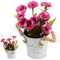 Композиция из искусственных цветов Ромашки в ведерке 20см