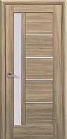 Дверное полотно Грета Золотой Дуб со стеклом сатин