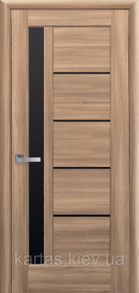 Дверное полотно Грета Золотой Дуб с черным стеклом