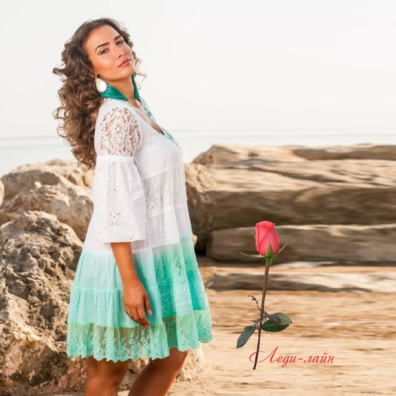 Летнее короткое   платье из натуральной ткани с кружевом   1179