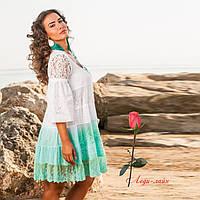 Летнее короткое   платье из натуральной ткани с кружевом   1179, фото 1