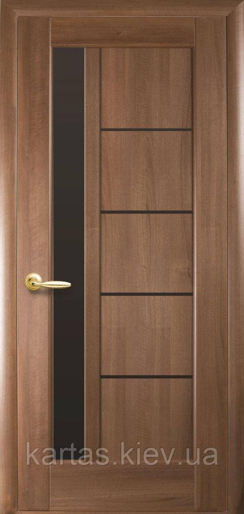 Дверное полотно Грета Золотая Ольха с черным стеклом