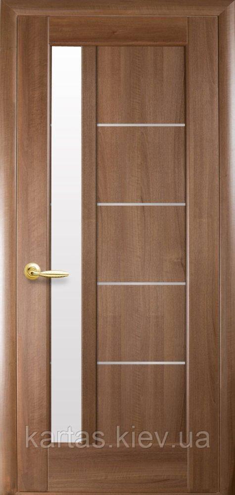 Дверное полотно Грета Золотая Ольха со стеклом сатин