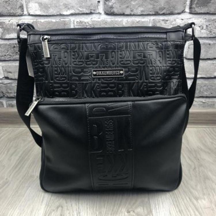 3764824fd5fc Молодежная мужская сумка-планшетка Bikkembergs черная кожа PU через плечо  унисекс Биккембергс люкс реплика