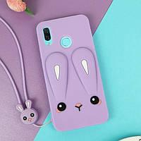 Чехол Funny-Bunny 3D для Huawei P Smart 2019 / HRY-LX1 Бампер резиновый сиреневый