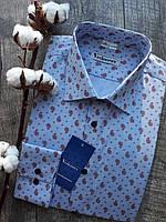 Рубашка мужская полуприталенная в красный турецкий огурец