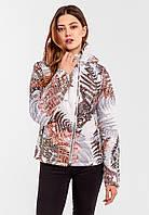 Демісезонна жіноча коротка куртка з принтом Папороть на силіконі Modniy Oazis білий 90347, фото 1