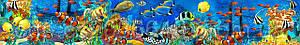 Стеклянный фартук Подводный мир - скинали для кухни Подводный мир