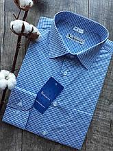 Рубашка мужская полуприталенная в голубую клетку
