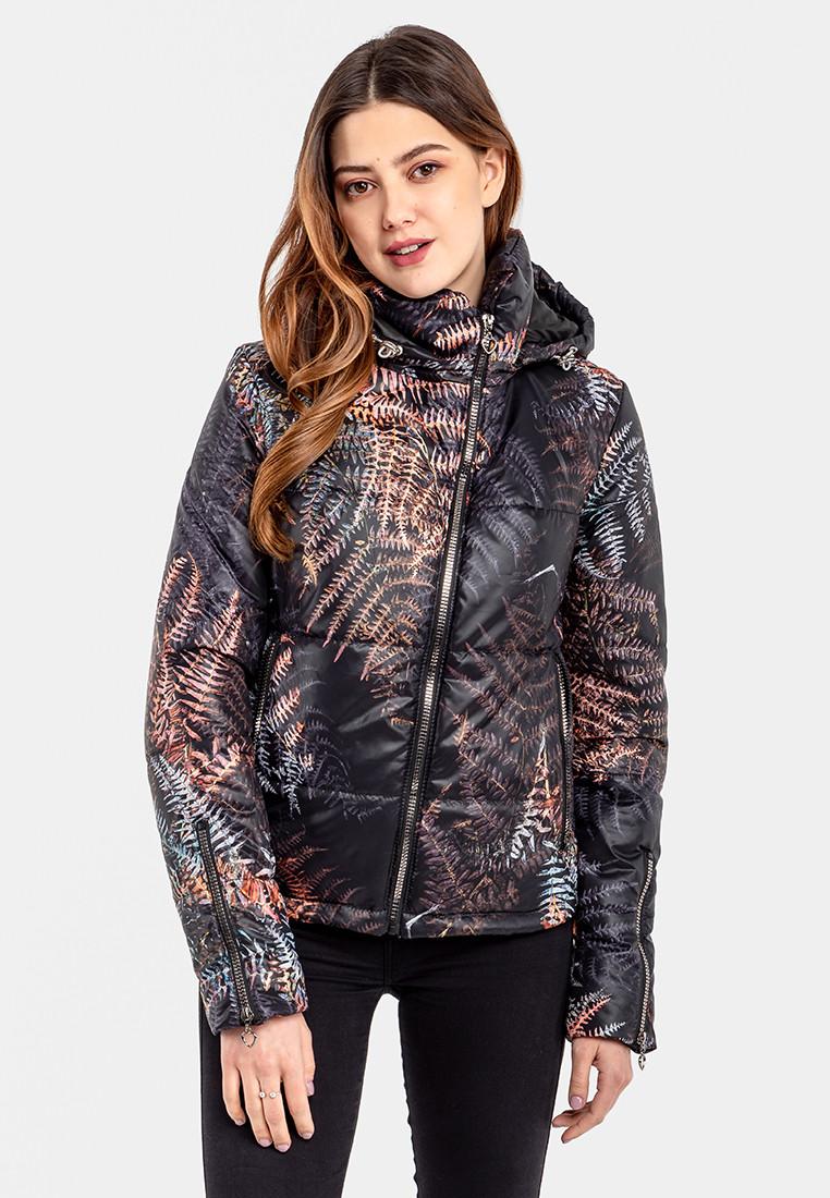 Демисезонная женская короткая куртка с принтом Папоротник на силиконе Modniy Oazis черный 90347, фото 1