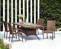 Комплект мебели плетеной для сада и дачи коричневый, Петан (искусственный ротанг) (4 кресла + стол 200 см )