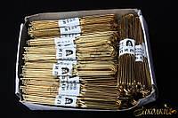 Шпилька хромированная золотистая, имеет закругленные силиконовые кончики, длина: 8 см., в упаковке 500 штук