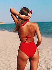 Купальник відрядний червоний з відкритою спинкою, фото 2