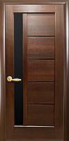 Дверное полотно Грета Каштан с черным стеклом