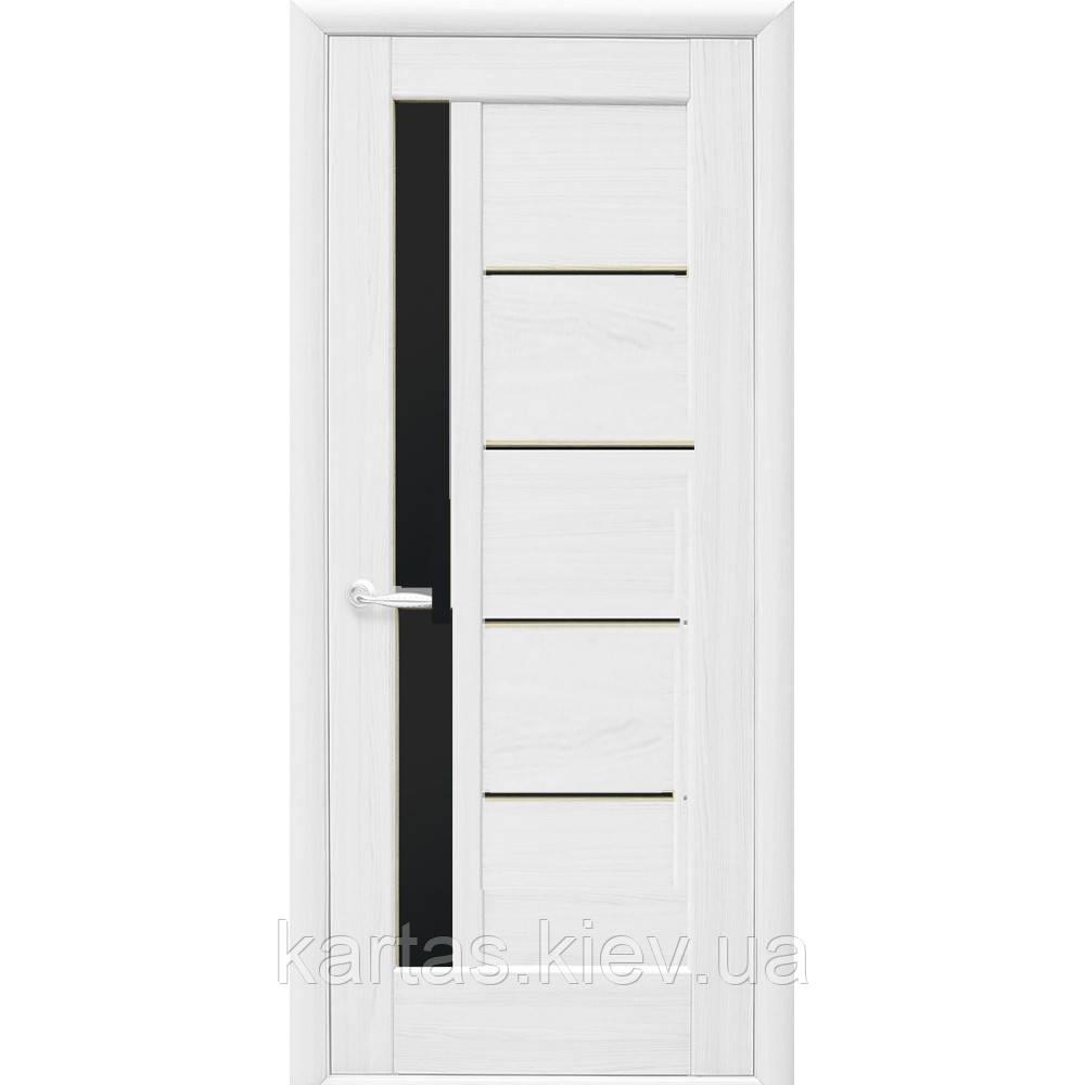 Дверное полотно Грета Белый Матовый с черным стеклом