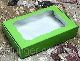 Коробка для печенья, пряников с окном Салатовая, 10 см х 15 см х 3 см, мелованный картон