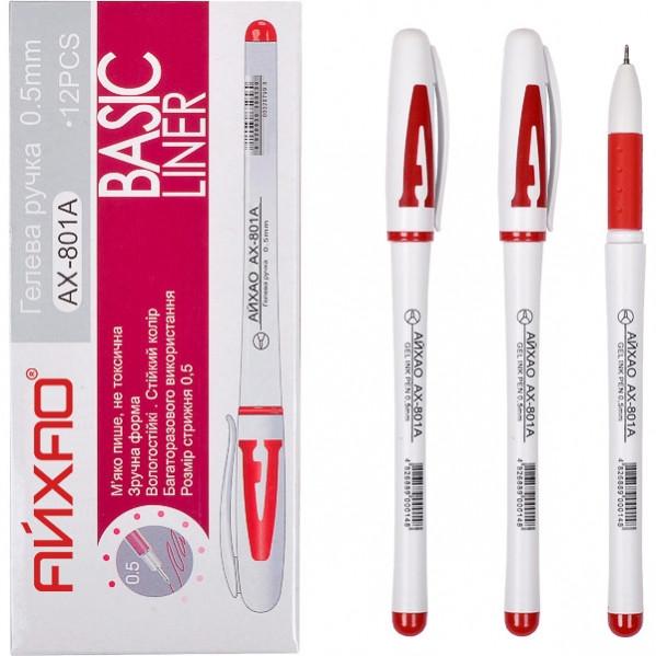 Ручка гелевая 801 A АЙХАО Original красная