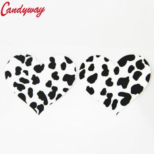 Наклейки для сосков леопардовые в форме сердечка - размер 7,5см
