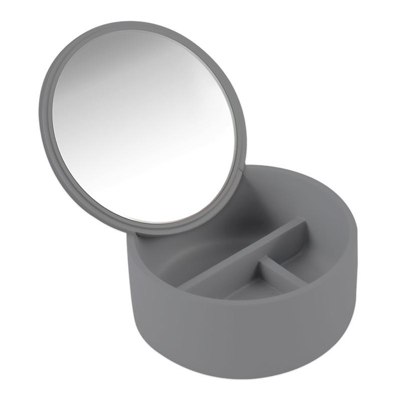 Зеркало косметическое серое с емкостью  AWD02091466