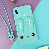 Чехол Funny-Bunny 3D для Huawei P Smart Plus / INE-LX1 Бампер резиновый голубой, фото 1