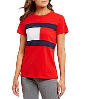 Женская красная футболка популярного бренда Tommy Hilfiger, фото 1