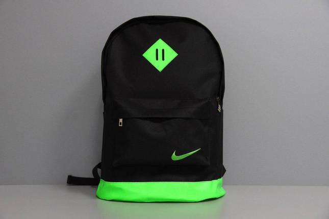 Рюкзак городской мужской, женский, для ноутбука   Nike (Найк) черный-зеленый, фото 2