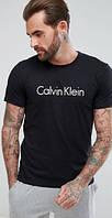 Футболка мужская Calvin Klein, кельвин кляйн черная с белым лого