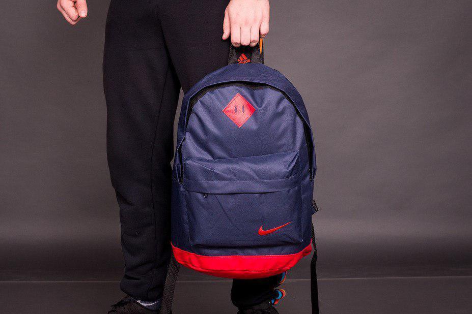 Рюкзак городской мужской, женский, для ноутбука   Nike (Найк) Т-синий-красный