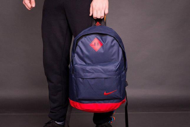 Рюкзак городской мужской, женский, для ноутбука   Nike (Найк) Т-синий-красный, фото 2