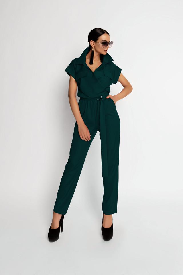 Женский элегантный комбинезон, изумруд, молодёжный, нарядный, деловой, стильный, оригинальный