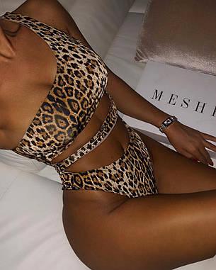 Купальник леопардовый на одно плечо, фото 2