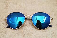 Cолнцезащитные очки Ray Ban Round синие с серебряной оправой (реплика)