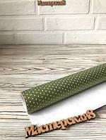 Бумага упаковочная зеленая в горошек   60см*5м  для подарков, оформления букетов