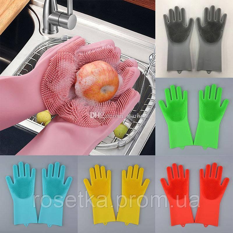 Силиконовые многофункциональные перчатки-щетки для мытья и чистки Magic Brush