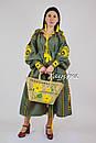 Бохо платье вышиванка лен этно, бохо-стиль, вишите плаття вишиванка, платье оливковое, фото 2