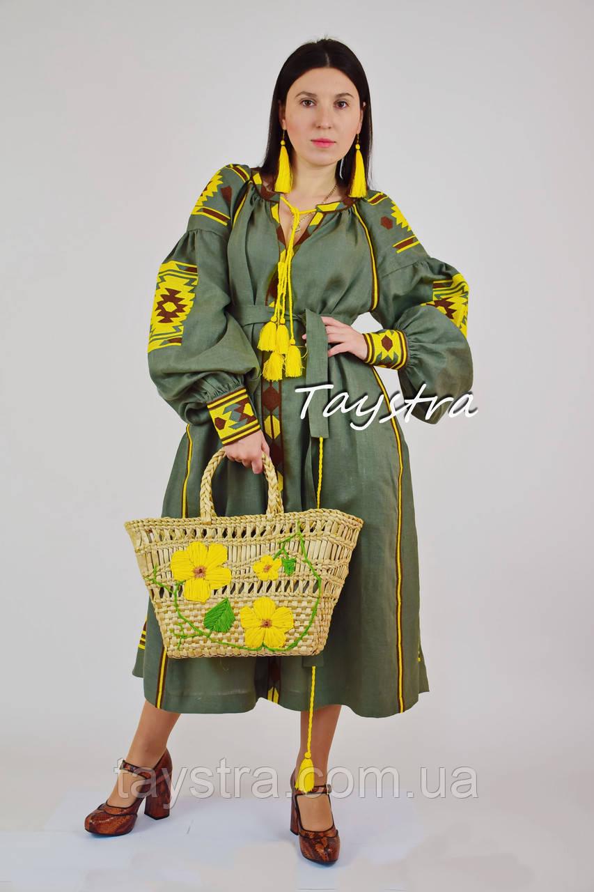 Бохо платье вышиванка лен этно, бохо-стиль, вишите плаття вишиванка, платье оливковое