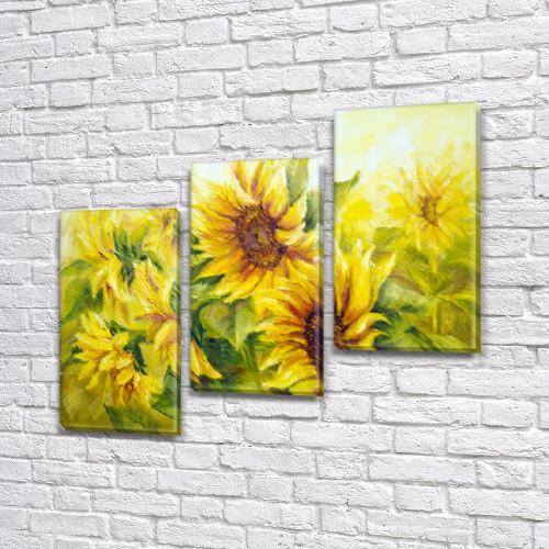 Подсолнухи, Модульные триптих картины, на ПВХ ткани, 70x80 см, (50x25-2/50х25)