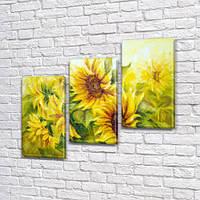 Подсолнухи, Модульные триптих картины, на ПВХ ткани, 70x80 см, (50x25-2/50х25), фото 1
