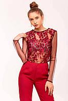 Бордовая кружевная блуза ALIS прямого кроя, фото 1