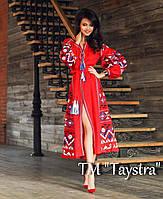 Бохо Платье красное вышитое, вышиванка лен, этно стиль бохо шик, вишите плаття вишиванка