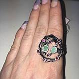 Красивое кольцо изумруд и родолит в серебре. Размер 18,5-19 кольцо с изумрудом и родолитом Тайланд, фото 7