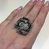 Красивое кольцо изумруд и родолит в серебре. Размер 18,5-19 кольцо с изумрудом и родолитом Тайланд, фото 2