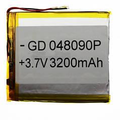 Универсальный аккумулятор для планшетов 3.7V 90х80х4 3200mAh