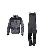 Костюм рабочий (полукомбинезон + куртка) «ЭКСПЕРТ», серо-черный