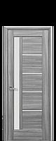 Дверное полотно Грета Бук Пепельный со стеклом сатин