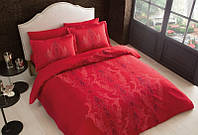 Двуспальное евро постельное белье TAC Mauna red Сатин-Delux